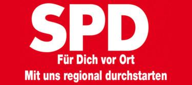 SPD-Logo und der Text: Mit uns regional durchstarten