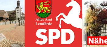 Collage mit Bildern aus Lemförde und dem SPD-Logo